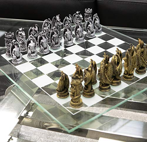 Ebros Gift Silver and Gold Painted Magic Fantasy Dungeons and Dragons Felted Base Resin Chess Pieces with 15' by 15' Checkered Frosted and Transparent Glass Board Set Gaming Board Game Collection