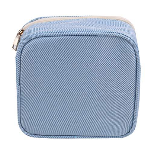 Pinhan Serviette Hygiénique Sac De Rangement Portable Fermeture Éclair Hygiène Pad Organisateur Carré Forme Mini Trousse De Maquillage,Bleu Ciel