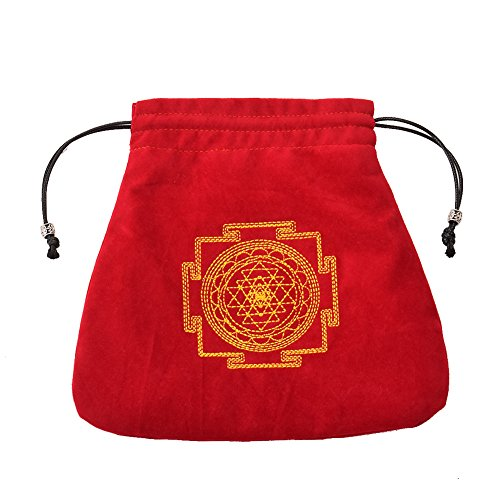 GRACEART Medieval Pouch Drawstring Unisex Altar Tarot Purse Embroidered Rune Bag 7.8inchx7.8inch(Size: One size)