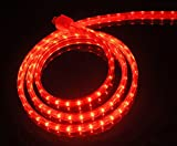 CBConcept UL Listed, 100 Feet, 10100 Lumen, Red, Dimmable, 110-120V AC Flexible Flat LED Strip Rope Light, 1830 Units 3528 SMD LEDs, Indoor/Outdoor Use, Accessories Included, [Ready to use]