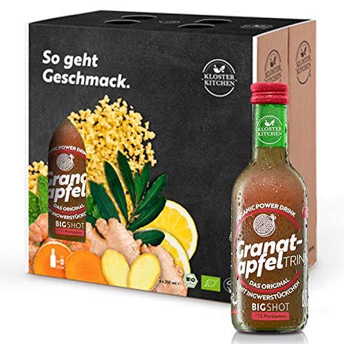Kloster Kitchen – Bio GranaatappelTRINK Bigshot 250ml, 6x 250ml granaatappel en gembershot in glasflessen, 12x…