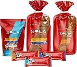 SOLA Vanilla Almond Variety Pack, 1 Golden Wheat Bread, 1 Sweet Oat Bread, 1 White Chocolate Vanilla bar, 1 Chocolate Sea Salt bar, 1 Peanut Butter bar, 1 Vanilla Almond Granola, 6 ct
