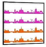 artboxONE Poster mit schwarzem Rahmen 20x20 cm Städte