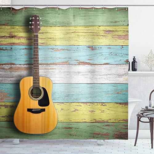 ABAKUHAUS Musik Duschvorhang, Akustische Gitarre, Hochwertig mit 12 Haken Set Leicht zu pflegen Farbfest Wasser Bakterie Resistent, 175 x 200 cm, Multicolor