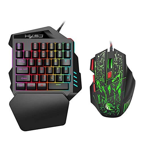 BESTSUGER Einhand Tastatur und Mauskombination, Gaming E-Sports Tastatur Mausset mit Handgelenkstützenunterstützung und 6400 DPI, USB-Tastatur mit Hintergrundbeleuchtung für PC PS4 Xbox Gamer