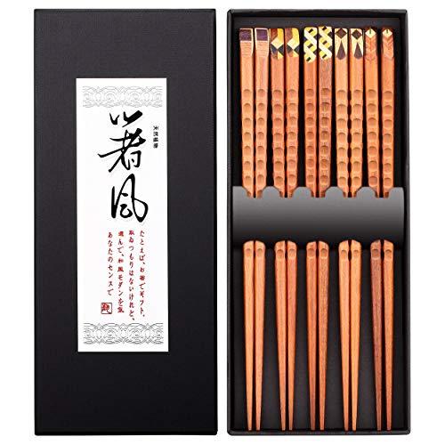 5 Pairs Premium Reusable Chopsticks Set - Natural Wood Japanese Chopsticks,...