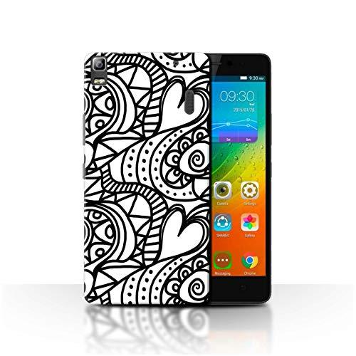 Phone Case for Lenovo K3 Note/K50-T5 Black Fashion Heart Swirls Transparent Clear Ultra Slim Thin Hard Back Cover