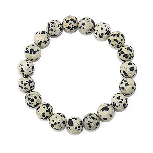 POMINA 10mm Semi Precious Stone Beaded Stretch Bracelets (Dalmatian Jasper)