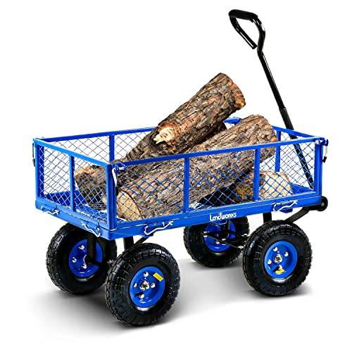 Landworks Lawn & Garden Utility Cart / Beach Wagon, All Terrain, w/ Heavy Duty...