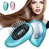 Brosse à cheveux électrique ionique, Luckyfine, Mini Brosse ionique pour cheveux, Peigne de massage magnétique à vibration, Traitements parfaits pour le massage du cuir chevelu des cheveux Vert menthe