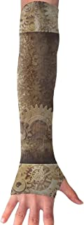 Huadduo Steampunk Top Hat As A Science Fiction Concept Made Of Metal Copper Gears And Cogs Image Women's Super Long Fingerless Anti-uv Sun Protection Golf Driving Sports Arm Sun Sleeves Gloves
