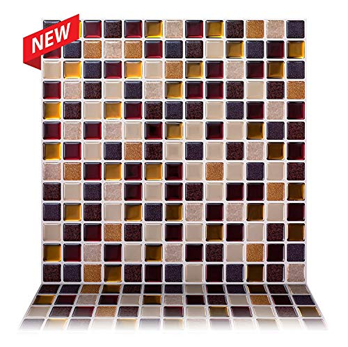 Tic Tac Tiles 5-Sheet 30cm x 30cm Peel and Stick 3D Tile Sticker Self Adhesive Stick On Wall Tile for Kitchen Backsplash and Bathroom in Square Maple