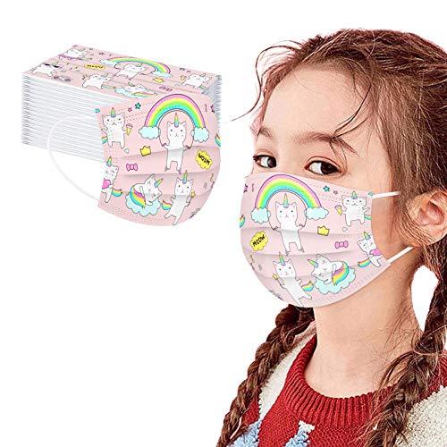 757 10/50 Piezas Niños 3 Capas Masca_rillas Cómodo Respirable Bandanas con Elástico para Los Oídos para Actividades al Aire Libre