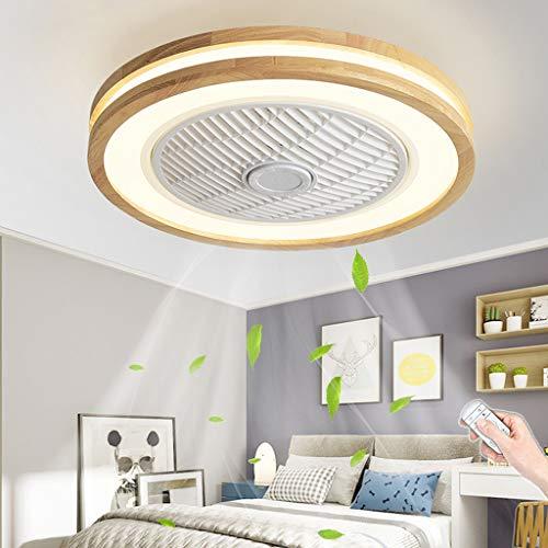 Madera Ventilador De Techo Con Luz LED Mando A Distancia Moderna 72W Lámpara De Techo Creativo Ventilador Invisible Regulable Interior Sala De Estar Plafón De Techo Oficina Fan Lluminación (Ro