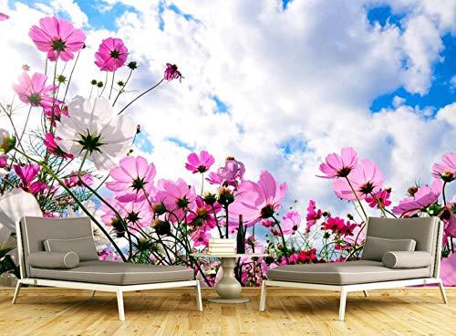Papel Pintado Pared 3D Cielo Azul Nubes Blancas Flores Moderno Dormitorio Salon Decoracion murales