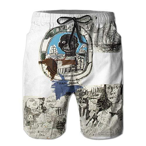 Shichangwei Pantaloncini da Bagno Mens Jean-Michel Basquiat Logo Beach Board Shorts Swim Trunks Swimwear Quick Dry Swim Trunks