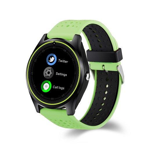 Smartwatch V9Sim Karte Slot und Bluetooth Kamera Uhr Telefon Schrittzähler Kalorien Green