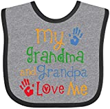 Inktastic My Grandma and Grandpa Love Me Baby Bib Heather and Black