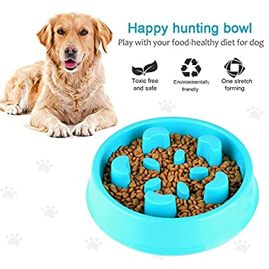 ONSON Dog Bowl Slow Feeder - Fun Feeder Slow Feed Dog Bowl - Interactive Bloat Stop Dog Bowl - Eco-friendly, Durable, Non Toxic, Bamboo Fiber Dog Food Water Bowl Skid Stop Design