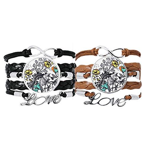 DIYthinker Modern Art Camelia Blumen Pflanzen Zeichnung Armband Handschlaufe Leder Seil Armband Doppelset Geschenk