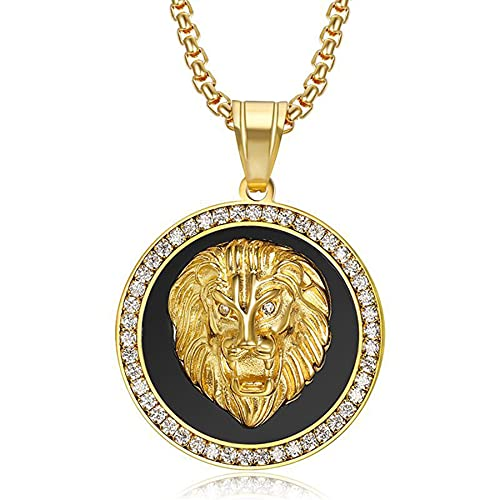SWAOOS Colgante de Cabeza de león con Cadena, Acero Inoxidable, Color Dorado, Collar para Hombre, joyería de Calle Hip Hop, 60Cm