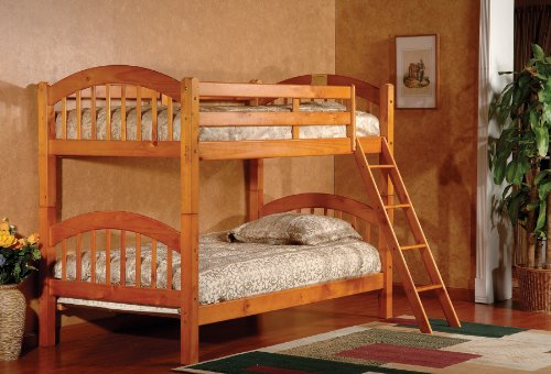 King's Brand Furniture Wood Arched Design Convertible Bunk Bed, Twin, Honey Finish
