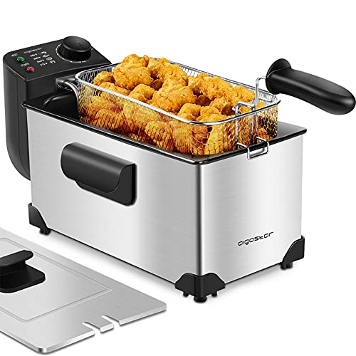 Aigostar Deep Fryer with Basket, 3L/3.2Qt Stainless Steel Electric Deep Fat Fryer with Temperature Limiter for Frying Chicken, Tempura, French Fries, Fish and Onion Rings,1650W, Silver