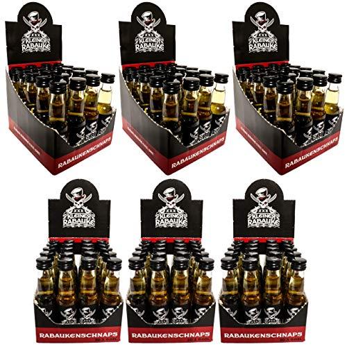 Kleiner Rabauke Premium Schnaps | Likör 6 Boxen 120 x 0,02l Alkohol | verfeinert mit Jamaica Rum | Made in Germany | Shots Gläser - Flaschen als Geschenk und für Longdrinks & Cocktails