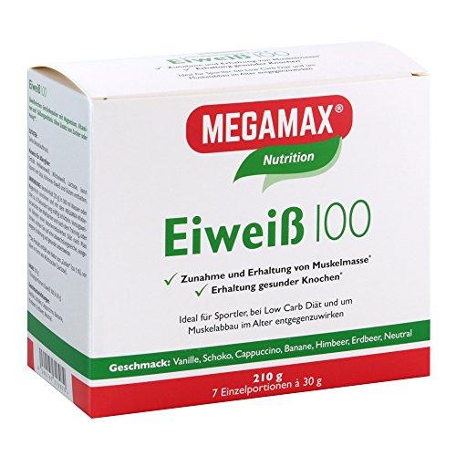 MEGAMAX Eiweiß 100 Pulver. Kennenlern-Set. Inhalt: 7 x 30 g. Ideal für Sportler und Ernährungsbewusste. 7 verschiedene Geschmacksrichtungen zum Probieren. Produktion in Deutschland.