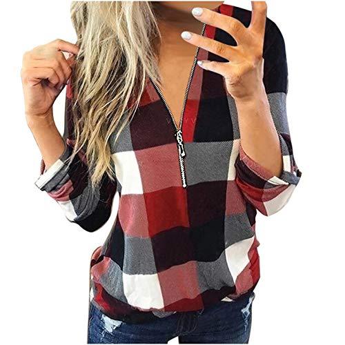 YANFANG Camisas y Blusas Informales de Manga Larga con Cuello en V y Estampado de Lino a la Moda para mujerCamiseta, Unisex, Ropa Urbana (Red02021, 3XL)