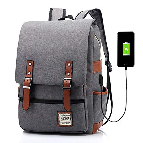 Junlion Unisex Business Laptop Backpack College Student School Bag Travel Rucksack Daypack with USB Charging Port Gray