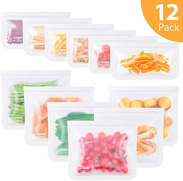 Reusable Sandwich Bags Kollea 12 Pack Freezer Ziplock Bags 6 Reusable Sandwich Bags 6 Reusable Snack Bags Extra Thick BPA Free Lunch Bags Leakproof Storage Bags For Food