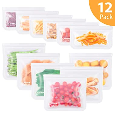 Reusable Sandwich Bags, Kollea 8 Pack Ziplock Storage Bags (4 Reusable Snack Bags & 4 Reusable Sandwich Bags), Extra Thick FDA Grade Freezer Bags Leakproof Food Storage Bags (12 Pack-white-Old)
