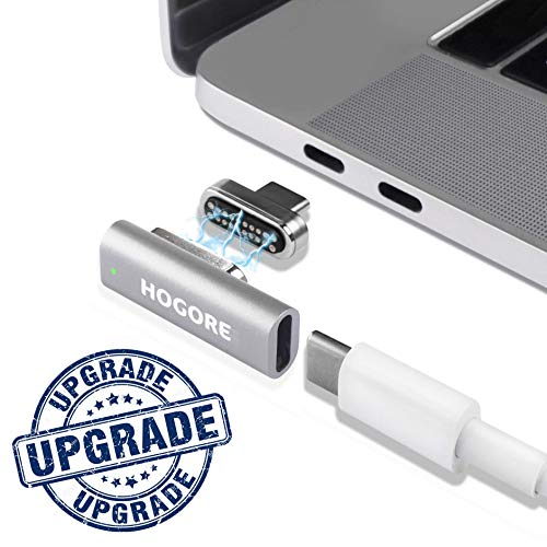 Magnetic USB C Adapter, HOGORE 20Pins MagSafe to USB C Converter Support 100W Fast Charging, 10Gbps Data Transfer, 4K Video Compatible with MacBook(Pro), Dell XPS, More Type C Laptops (Silver)