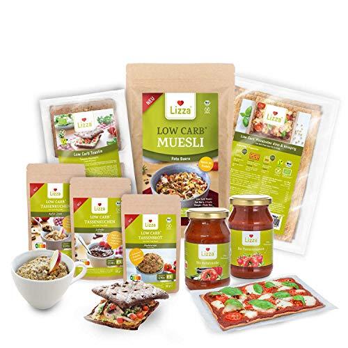 Lizza Low Carb Home Office Box | Bis zu 94% weniger Kohlenhydrate | Keto | Diabetikerfreundlich | Bio. Glutenfrei. Vegan | Pasta, Pizza, Tassenkuchen, Toast Brötchen, Tassenbrot, Müsli | 23 Portionen