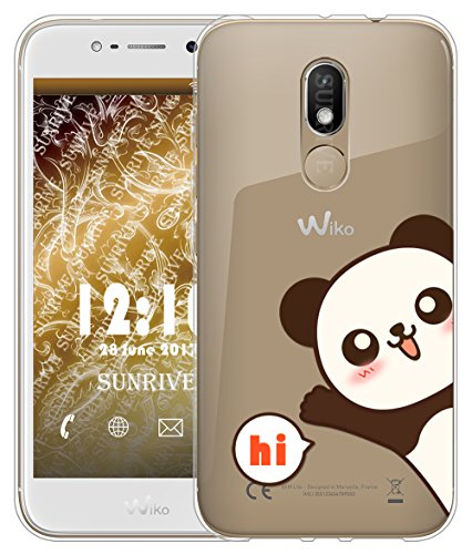 Sunrive Für Wiko Wim Lite Hülle Silikon, Transparent Handyhülle Schutzhülle Etui Hülle Backcover für Wiko Wim Lite 5,0 Zoll(TPU Panda 2)+Gratis Universal Eingabestift