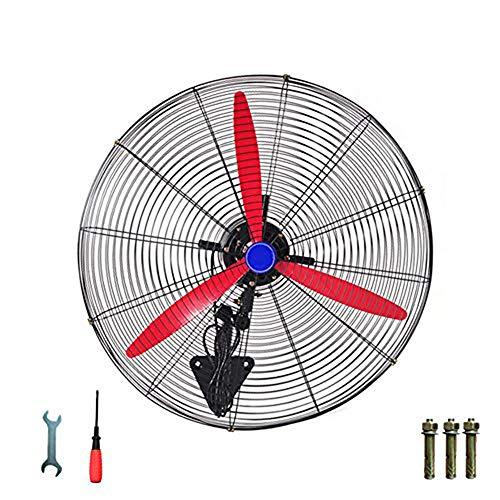 Ventilador industrial de pared 230/280 W, gran potencia vientre, ahorro de energía, hoja de ventilador de aluminio rojo, control manual, metal, blanco, 80cm/32in