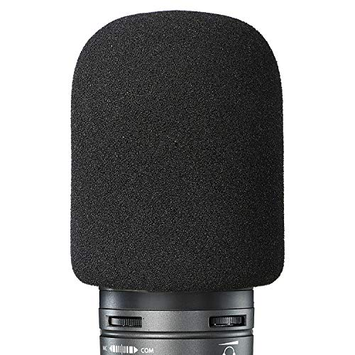 YOUSHARES Foam Mic Windscreen - Large Size Microphone Cover for Audio Technica AT2020 and Other Large Microphones, As a Pop Filter (Black)