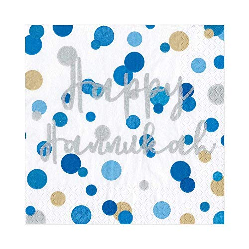 Caspari Confetti Happy Hanukkah Paper Luncheon Napkins - 20 Per Package
