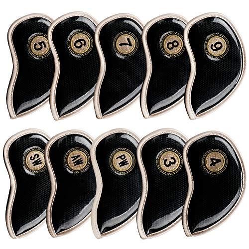 KEESIN Golf Eisenkopfbezüge wasserdichtes PU-Leder Schlägerkopfbezug für Titleist, Callaway, Ping, Taylormade, Cobra, Nike-Set mit 10 Stück
