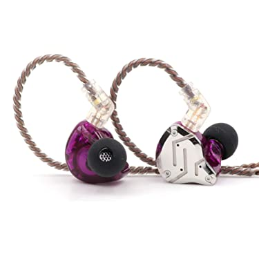 Linsoul KZ ZS10 Pro 4BA+1DD 5 Driver in-Ear HiFi Metal Earphones with Stainless Steel Faceplate, 2 Pin Detachable Cable (with Mic, Purple)
