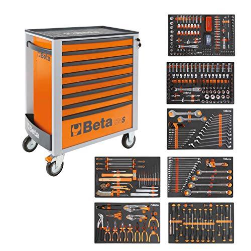 BETA Easy Werkzeugwagen mit 8 Schubladen mit 384 teiligem Werkzeugsortiment, 2400S-O8/E-XL,...