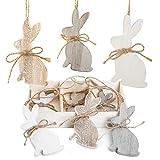 9 coniglietti pasquali da appendere, in legno naturale, da 10 cm, nei colori bianco, beige e marrone, ideali per decorazioni pasquali, in stile shabby chic