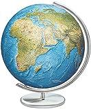 Unbekannt Columbus Duo Rama Relief Globus: 40cm Diámetro. Bola de Vidrio soplado, Tradicional handkaschiertes Tarjeta de pie de Metal y–Meridian, Acero Inoxidable Acabado