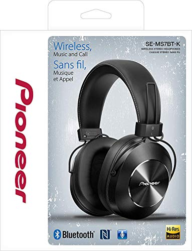 Pioneer Bluetooth and High-Resolution Over Ear Wireless Headphone, Black (SE-MS7   BT-K)