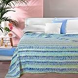 Caleffi Tagesdecke für den Sommer, 2-Sitzer, Piqué, aus reiner Baumwolle 2 Sitze Kornblumenblau