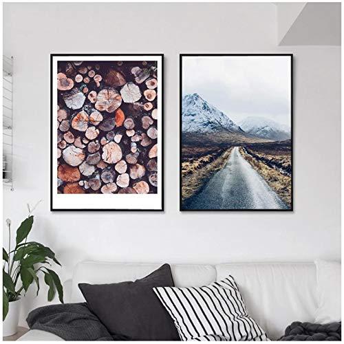 Póster escandinavo Long High Way Road Nature Landscape Arte de Pared nórdico Impresión de Lienzo Imagen de decoración del hogar - (50x70cm) x2pcs Sin Marco