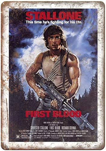 Bensun Nancy Stalone First Blood Movie Tin Sign Wall Iron Painting Retro Plaque Vintage Metal Sheet Decoration Poster Funny Poster Hanging Crafts for Bar Garage Cafe Home