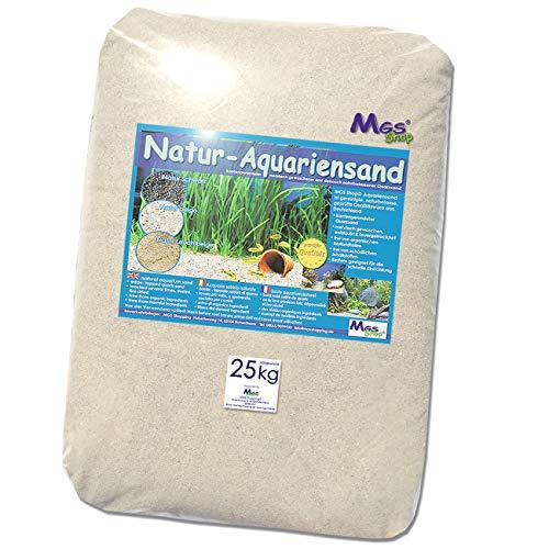 MGS SHOP Aquariensand 25kg gerundet Natur BEIGE geprüfte Qualität Körnung (0.4-0.8mm)