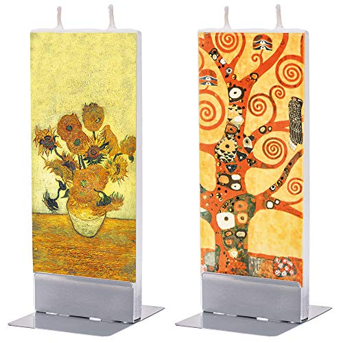 flatyz Deko Kerzen - Besondere Kerzen Zum Verschenken - Handgemachte Kerzen - Flache Kerzen Deko 60x10x150mm - 2er-Set Gustav Klimt Lebensbaum und Van Gogh Stillleben Vase mit fünfzehn Sonnenblumen